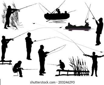 illustration with fishermen silhouettes isolated on white background