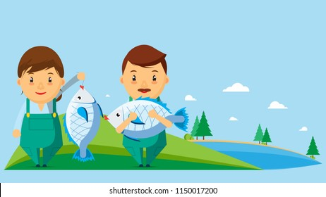Illustration of a fishing career in a cartoon picture