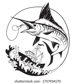 Illustration of fishing on marlin. The swordfish on the waves with a fishing rod on the background of the boat. Fish logo. Sports hobby. Emblem for fishing clubs.
