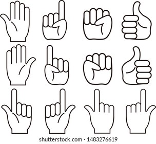 Illustration of a fist.Illustration of hand grasped.Hand sign illustration set. Illustration of an open hand