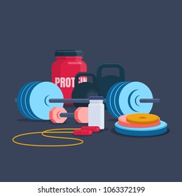 Illustration of  fitness and bodybuilding equipment. Home gym set. Flat vector illustration