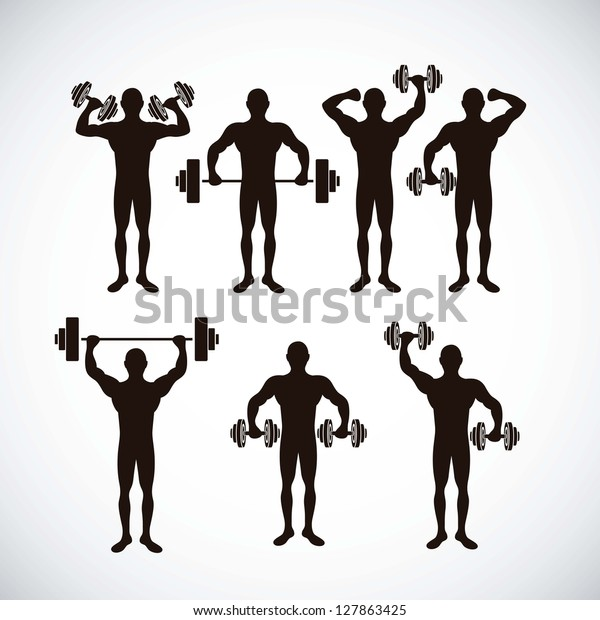 Illustration of Fitness Icons, sports and exercise, caring figure and health, vector illustration