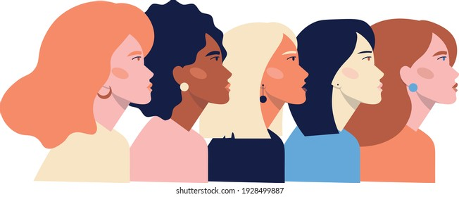 Illustration of five female faces of different ethnicity. Women empowerment movement banner. International Women's Day vector.