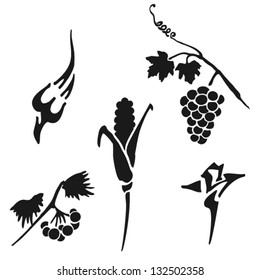 Illustration of five small silhouettes. Autumn melody. Isolated. Set. Vector.