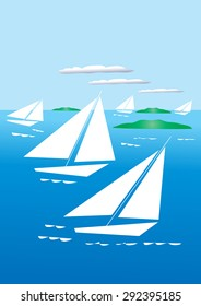 An illustration of five stylized yachts sailing in a calm sea dotted with small islands and a few clouds in the sky