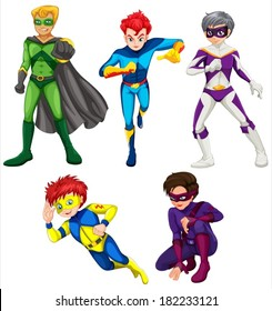 Illustration of the five superheroes on a white background
