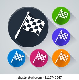Illustration of flag circle icons with shadow
