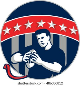 Illustration of a flag football player QB holding ball running set inside circle with stars and stripes in the background done in retro style.