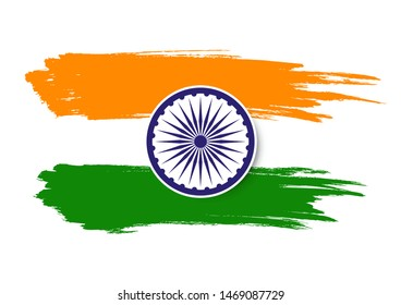 Illustration of Flag of India brush stroke, Happy Independence day banner, Vector