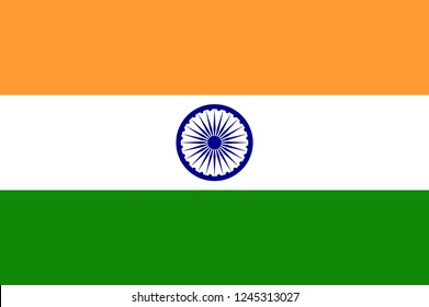 Illustration of the flag of India shaped like a heart. India flag, official colors and proportion correctly. National India flag. Vector illustration. EPS10.