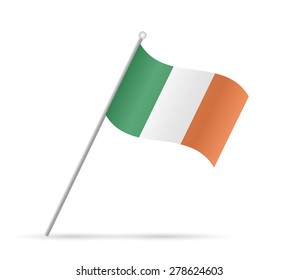 Illustration of a flag from Ireland isolated on a white background.