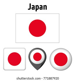 Illustration flag of Japan, and several icons. Ideal for catalogs of institutional materials and geography