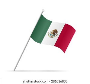 Illustration of a flag from Mexico isolated on a white background.