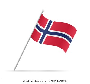 Illustration of a flag from Norway isolated on a white background.