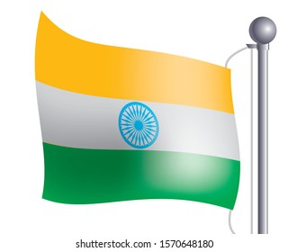 Illustration of flag waving in the wind, Indian flag, vector data.