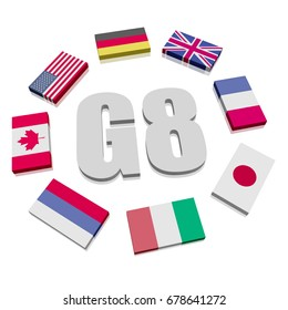 Illustration of Flags symbolizing the G8 association of seven national economies members flags in a circle, Group of Eight a governmental political forum, eps10 vector