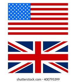Illustration of flags the US and UK  white background