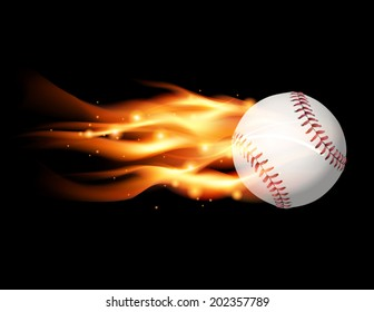 An illustration of a flaming baseball flying. Vector EPS contains transparencies and gradient mesh.