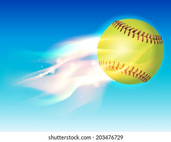 An illustration of a flaming softball in the sky. Vector EPS 10 contains transparencies and gradient mesh.
