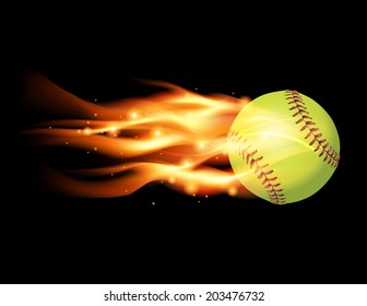 An illustration of a flaming softball. Vector EPS 10 file contains transparencies and gradient mesh.