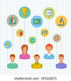 Illustration Flat Colorful Simple Icons of Schoolchildren and Education Elements - Vector