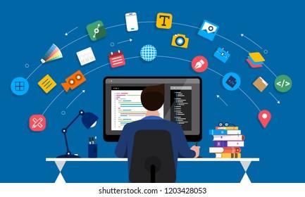 Illustration flat design concept web or application designer and programmer sitting working with computer on desk. Vector illustrate.