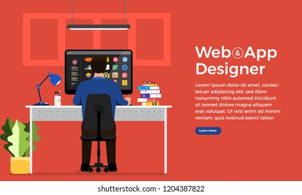 Illustration flat design concept web or application designer and programmer sitting working with computer on desk. Vector illustrate.