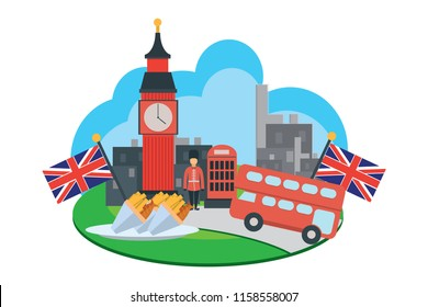 illustration of flat design with holiday theme to England