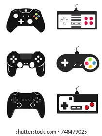 Illustration Flat Design Modern and Retro vintage Game pad Controllers with Wired and Wireless in Black colors Vector