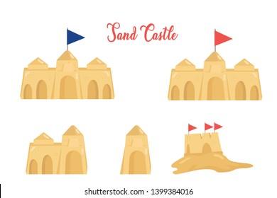 illustration flat design sandcastle set background