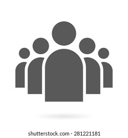 Illustration of Flat Group of People Icon Vector Symbol Background
