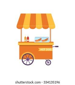 Illustration Flat Icon Cart of Hot Dog Isolated on White Background - Vector