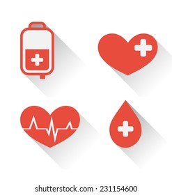 Illustration flat medical icons of donate blood with long shadow - vector