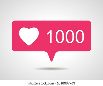 illustration of flat pink thousand like heart social media icon on grey background