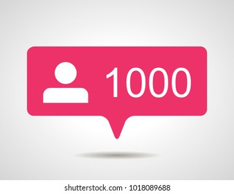 illustration of flat pink thousand like followers social media icon on grey background