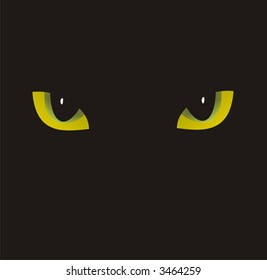 The illustration of flavovirent eyes of the cat separately located on a black background, that forms a muzzle of a black cat.