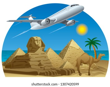 illustration of flight to travel and resorts in Egypt