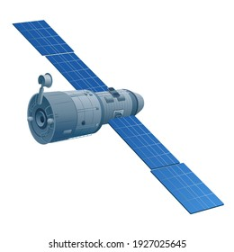 illustration of the floating orbital station the in outer space