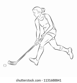 illustration floorball player shooting  , black and white drawing, white background