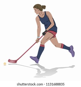illustration floorball player shooting , colored drawing, white background