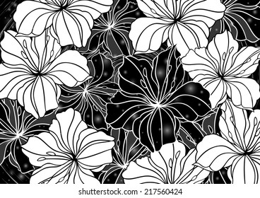 Illustration of floral background with banner and grunge texture