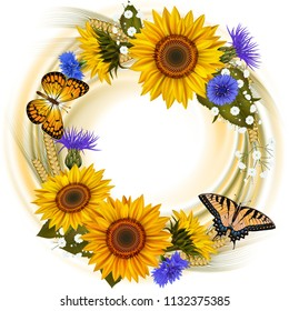 Illustration of floral card template with sunflowers, cornflowers, wheat ears, gypsophila flowers and butterflies isolated