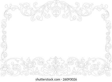 illustration with floral frame decoration on white background