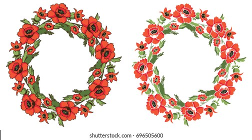 illustration of floral frame with a wreath of red poppies on a white background