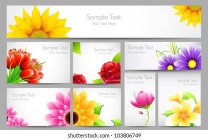 illustration of flower banner in different size