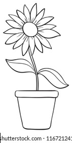 illustration of a flower and a pot sketch on white background