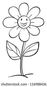 illustration of a flower sketch on white background