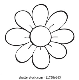 illustration of a flower sketch on white background