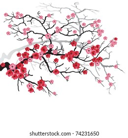 фотообои Illustration of flowering branch of Sakura. Vector.