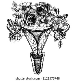 Illustration of a flowering human womb. Female reproductive organs. Vector sketch of the symbol of female health with a roses wreath.